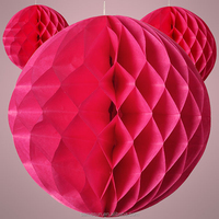 Rose Red Tissue Paper Flower Ball Honeycomb Lamp Festival&Wedding Decoration