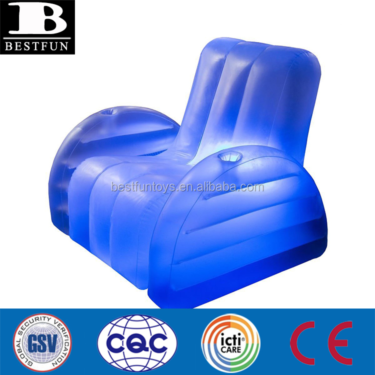 high strength PVC inflatable blow up LED arm chair durable plastic light up inflatable single sofa folding single beach armchair