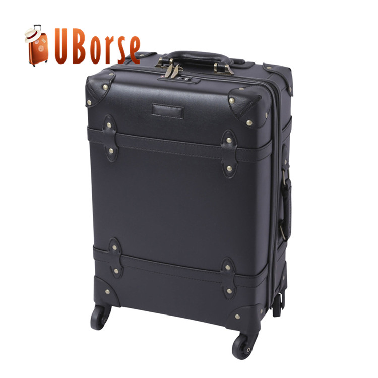 Luxury black pu leather vintage suitcase handmade trolley travel luggage bags