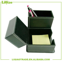 Black decorative leather pu three metre pen container suitable for office