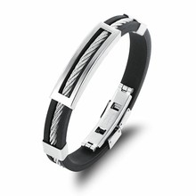 Marlary Popular Men Simple Fashion Silicone Bangle Stainless Steel Rubber Bracelet
