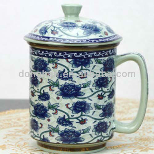 Ancient design ceramic chinese tea mug with cover