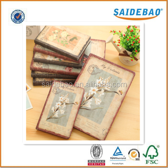 Chinese Vintage style colorful hardcover notebook,new trendy literature notebook with custom design inner pages printing flowers