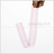 60cm Metric Straight Flexible Plastic Grading Pattern Making Ruler with Protractor for Sewn # 8005