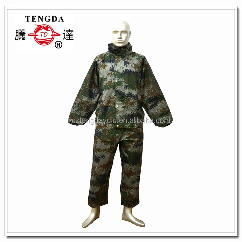 digital printing camouflage military polyester raincoat