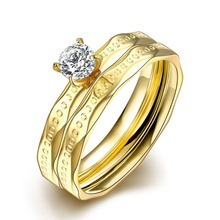 Fantastic Zirconia Bridal Jewelry Set For Wedding 18K Yellow Gold Set Cheap Stainless Steel Artificial Fashion Ring