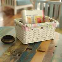 Handicraft making log basket with digital cloth lining