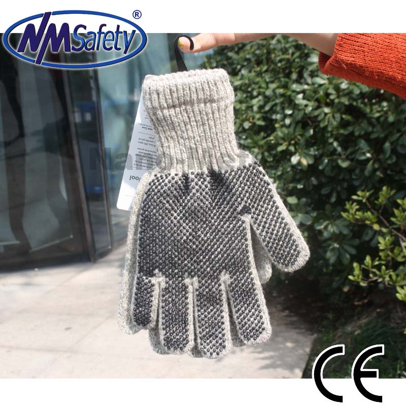 NMSAFETY Wool string knitted wrist gloves with black PVC dots