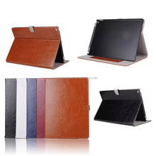 Oil Wax Glossy Leather wallet cover case for i Pad Pro with wake up /sleeping function , tablet case