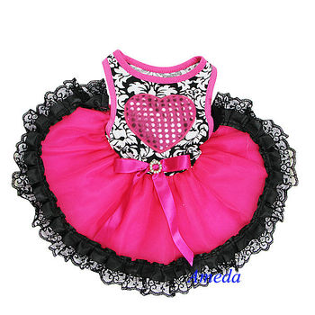 NEW Black Damask Hot Pink Heart Black Lace Tutu Pets Dogs Clothes Party Dress XS-L