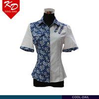 latest unique design new model shirts printed flower short sleeve white shirts for women