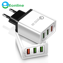 3 Ports Fast <strong>Charger</strong> QC 3.0 USB <strong>Charger</strong> for iphone X 7 8 ipad fast <strong>Charger</strong> QC3.0 EU / US Plug for samsung S8 mobile phone Charge