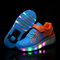 2016 latest two wheels flashing led roller flying roller skates shoe wholesale