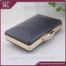Metal clutch purse frame with plastic box purse frame with hard shell
