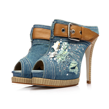 2017 women sexy denim rhinestone handmade buckle strap stiletto platform high pumps highheel shoes ladies shoes and bags set