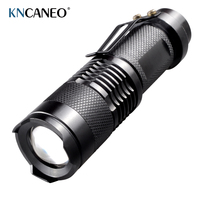 Mini Flashlight Black Brand 2000LM Waterproof LED Mini Flashlight 3 Modes Zoomable LED Torch penlight