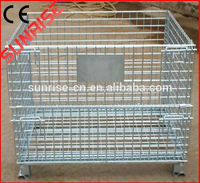Industrial Collapsible Steel Storage Crate Folding Stacking Bulk Pallet Wire Basket