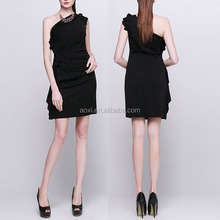Alibaba wholesale black fashion ruffled one shoulder elegant cocktail dress for party