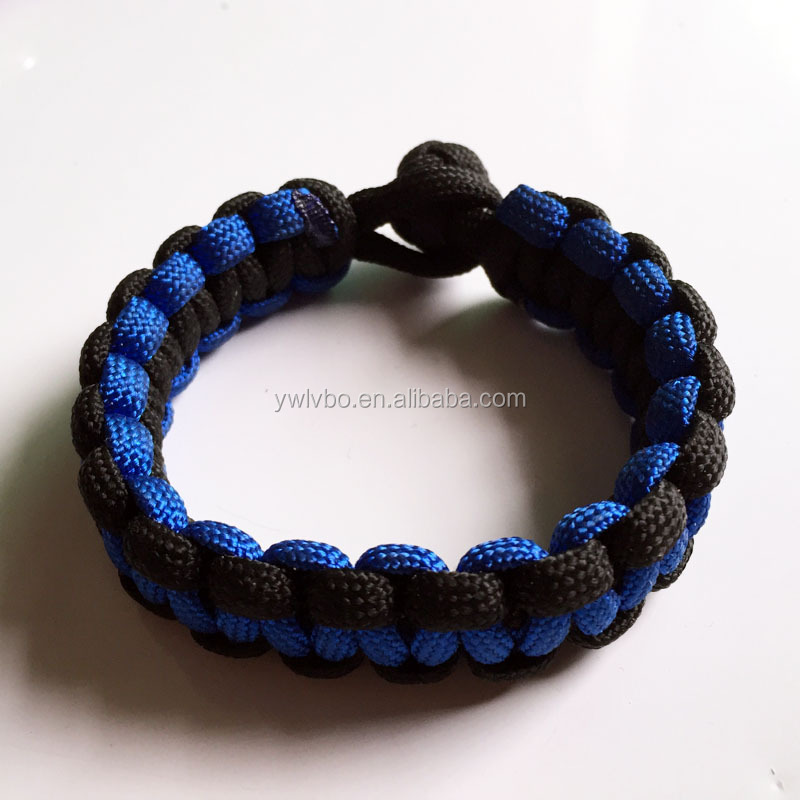 Promotional gift/jewelry blue/black paracord bracelet wristband
