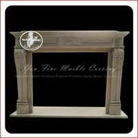 Freestanding gas sculpture stone fireplace