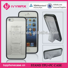 TPU+PC Hard Case Cover for iphone 5 5G With Stretch Bracket Stand Holder