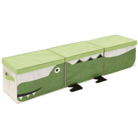 Set of 3 green alligator cartoon appearance fabric toy organizer foldable collapsible kid child baby storage box for living room