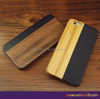 Hot sale mobile phone accessory genuine leather flip wood cell phone case for iphone