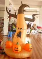 Alibaba top sale giant halloween decoration inflatable pumpkin with ghost
