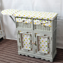 Rustic Wicker Drawer wood cabinet With Folding Ironing Board