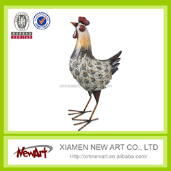 2016 Garden and home decoration craft art decorative metal rooster sculpture