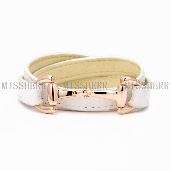 Ladies fancy items wrap leather bracelet NSB522PURGWT