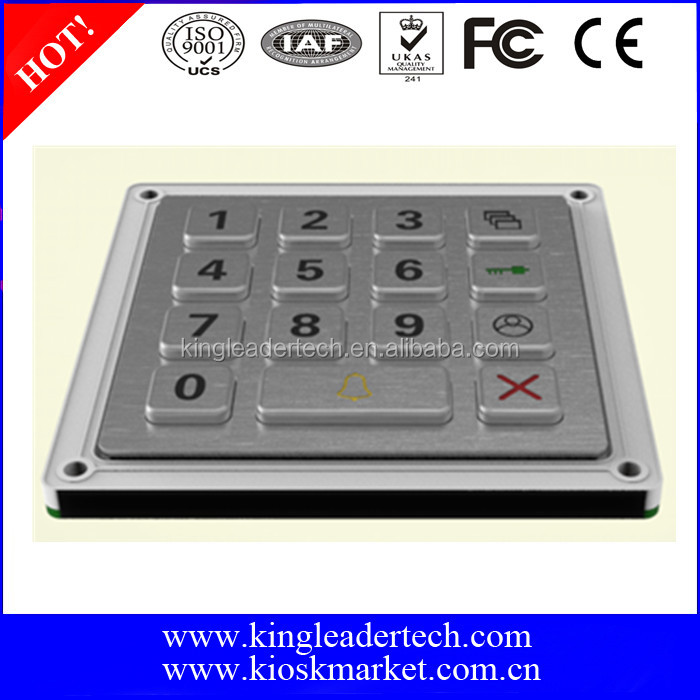 Keys in 4x4 matrix metal numeric keypad with 15 Waterproof Keys