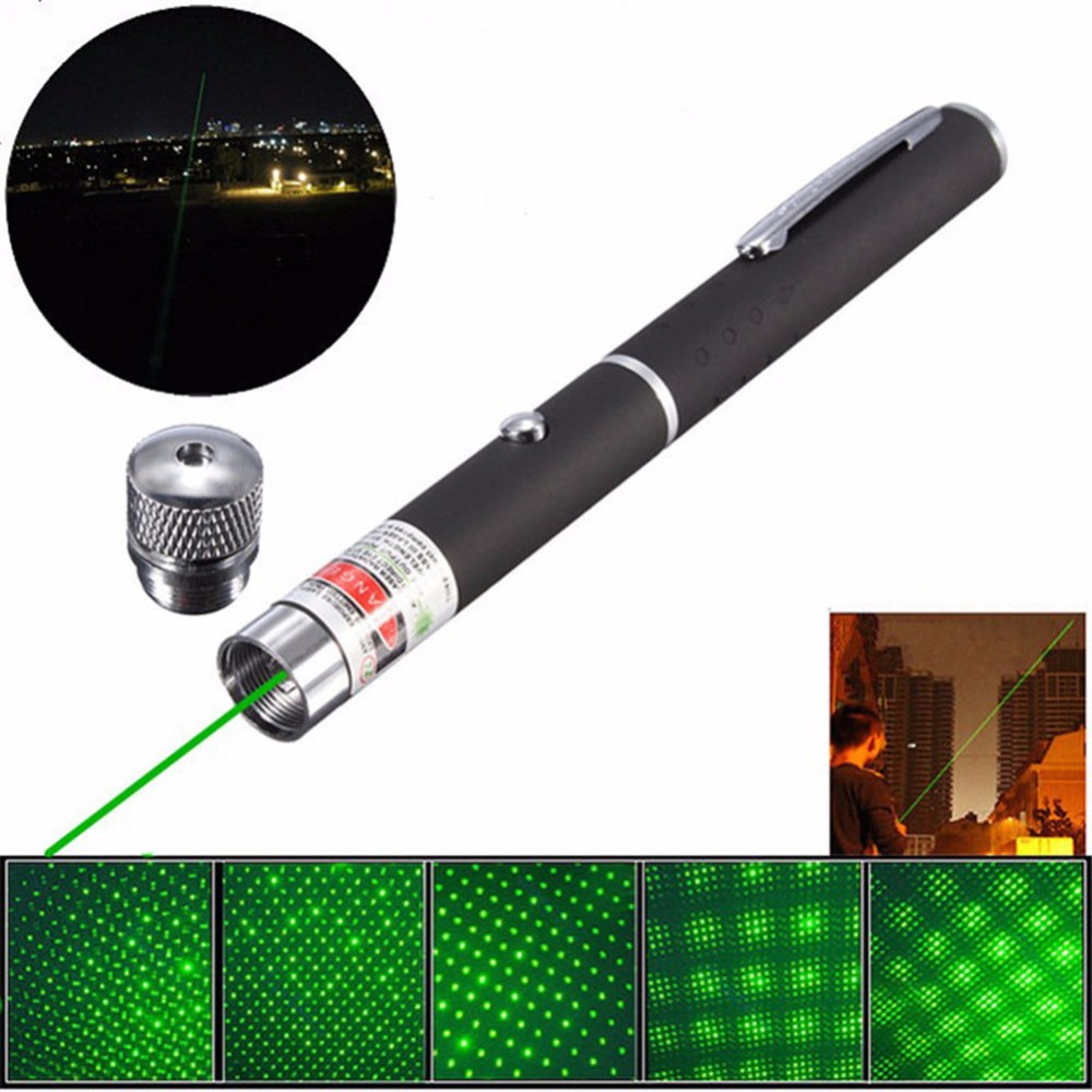 100% New Brand Christmas Gift 532nm 2in1 Green/Purple/Red Laser Pointer Pen with Star Cap