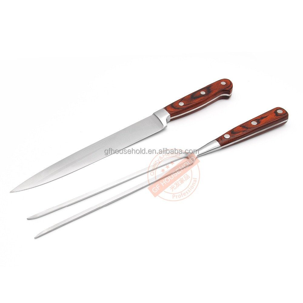 Luxury wood handle stainless steel steak knife and fork sets