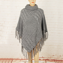 wholesale winter knitted poncho with fringe choker cashmere pullover sweater women wool cloak