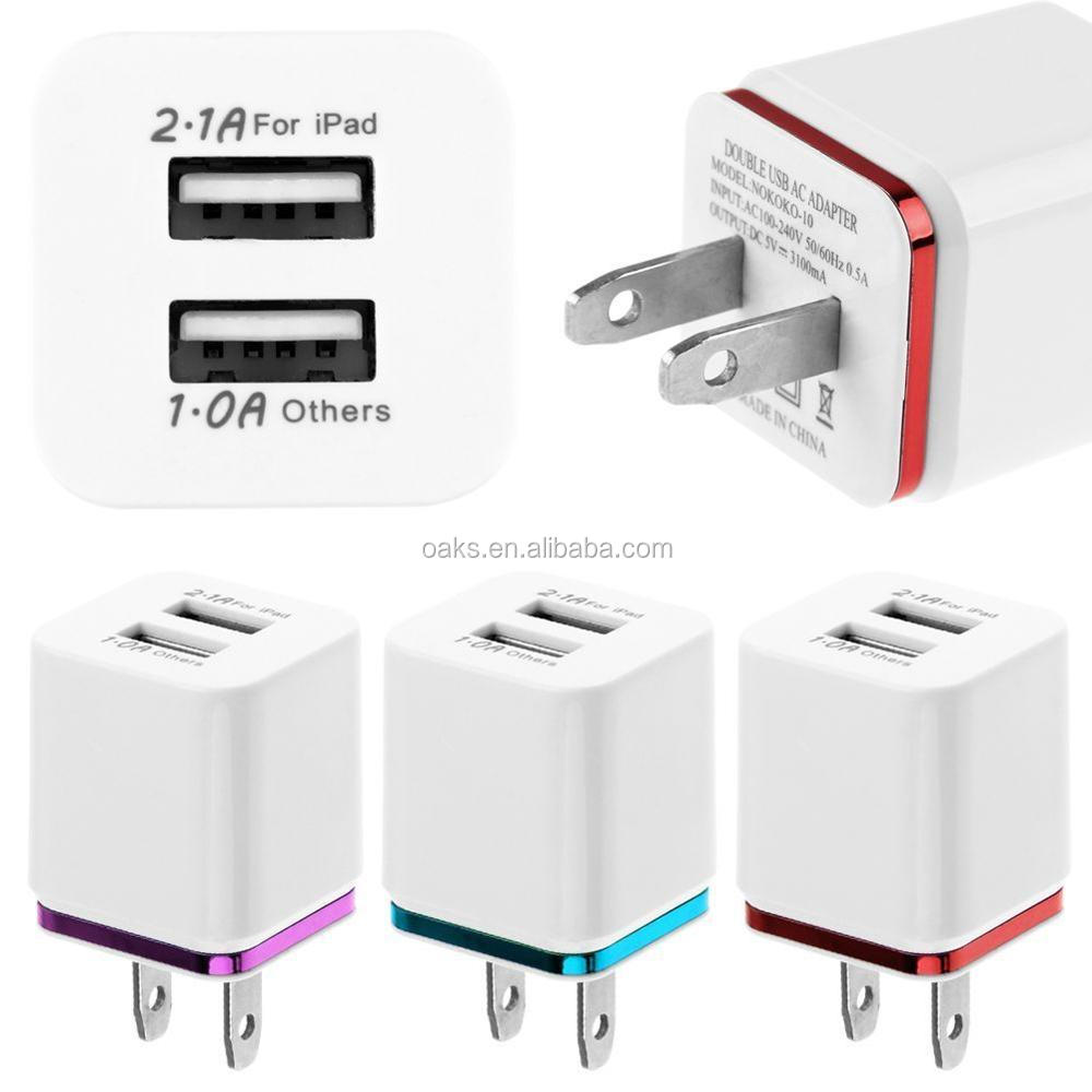 Universal Phone Chargers US Plug 5V 2.1A Dual USB Wall Charger Adapter For IPhone Smartphone