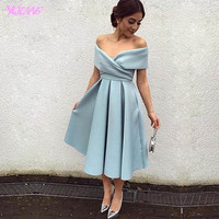 Yqlanbridal Light Blue Off Shoulder Satin Tea-Length Formal Women Party Dress Cocktail Dresses