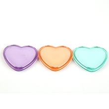 Plastic heart shape double sides pocket compact mirror