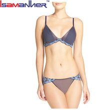 Fancy design ladies transparent lingerie bra and panty set photo