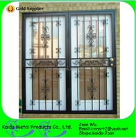 Ornamental Wrought Iron Double Grill Door Design For Safety