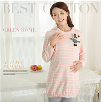 2015 cute fancy 100%cotton knitting patterns woman pajama set