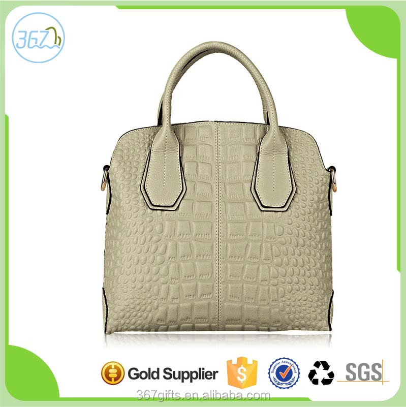 Leather handbag crocodile grain bag lady of baotou layer leather handbag