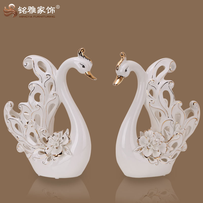 promotional handicraft pottery swan with 3D flower decoration on the body