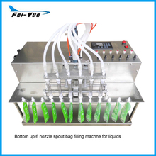Stainless steel electric liquid 6 heads nozzles Laundry detergent spout bag filling machine