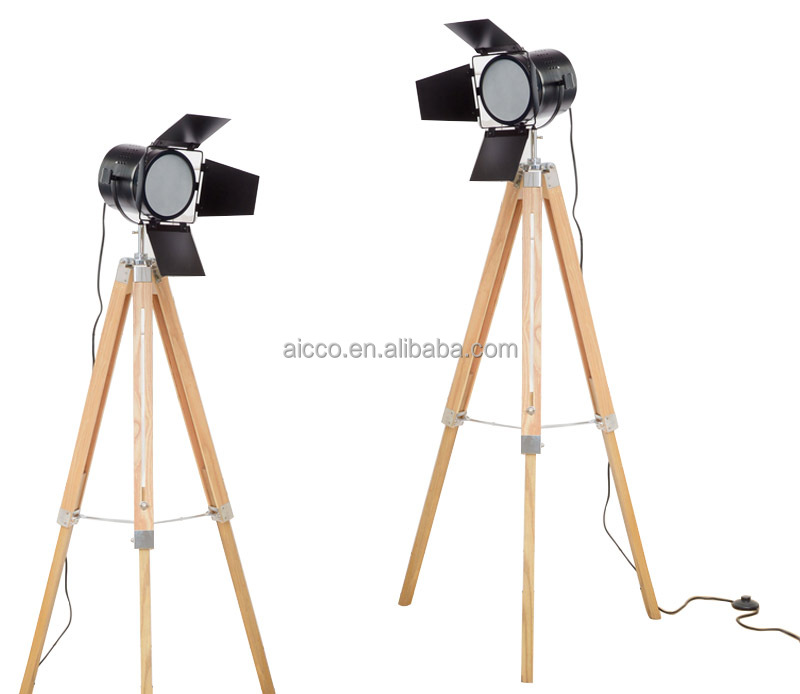 Vintage Wooden Cheap Modern Tripod LED Floor Lamp For Hotel