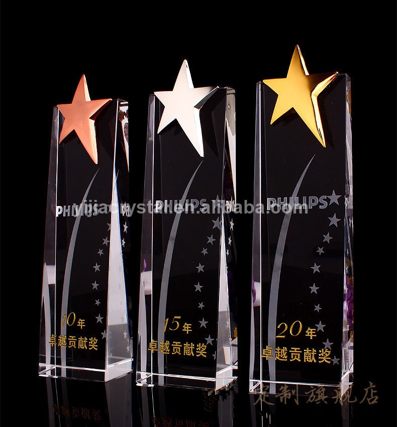 Customized Crystal Five-Star Awards K9 Crystal Trophy for Souvenir