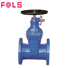 Industrial flanged type cast iron soft seated gate valve
