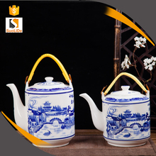 Blue and white porcelain drinkware chinese home life teapot handles