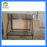 China supplier metal frame bunk beds with wooden step in UK market triple metal bunk bed