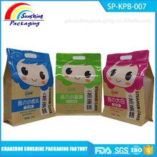 New Arrival Flat Bottom Kraft Paper Steamed Cake Packaging Bags with Ziplock